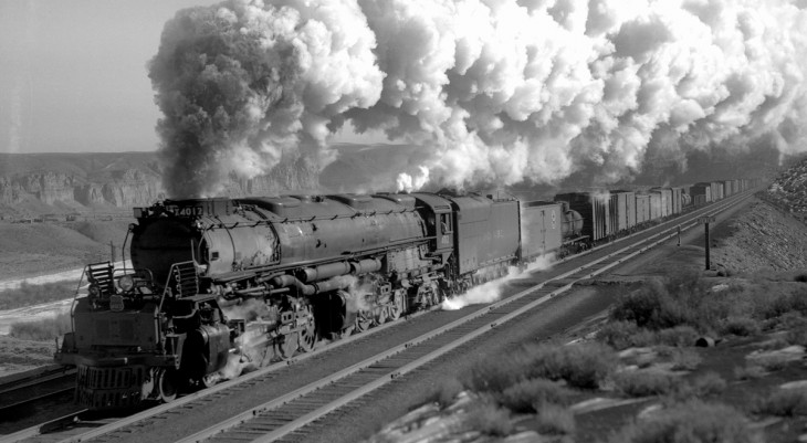 Union Pacific Big Boy 4012 through Green River, Wyoming in November 1941.jpg
