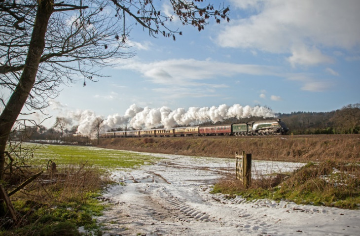 VSOE Pullmans as No. 60009 'Union of South Africa' passes Gomshall on 2 February 2019. Robert Falconer R.jpg